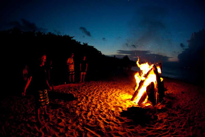 beach bonfire fire element mentawais islands indonesia